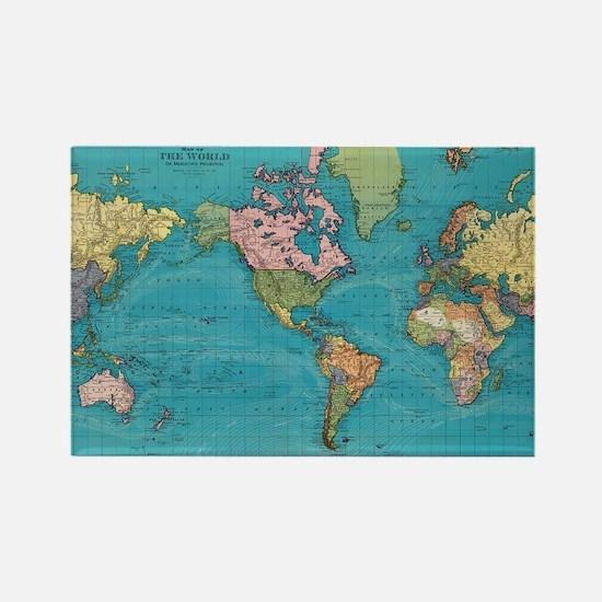 Cute World map Rectangle Magnet