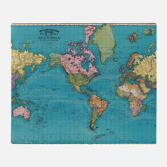 Unique Vintage world map Throw Blanket