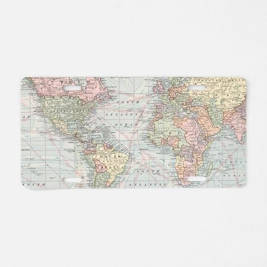 Cute Antique world map Aluminum License Plate