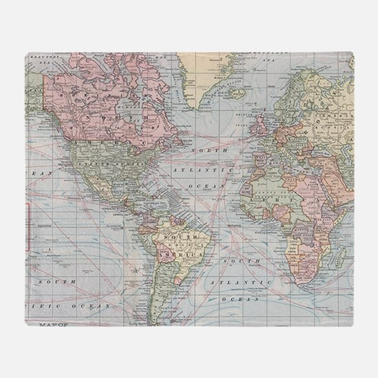 Funny Vintage world map Throw Blanket