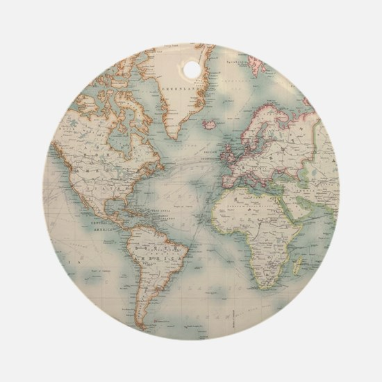 Funny World map Round Ornament