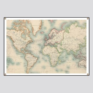 World Map Banners Cafepress