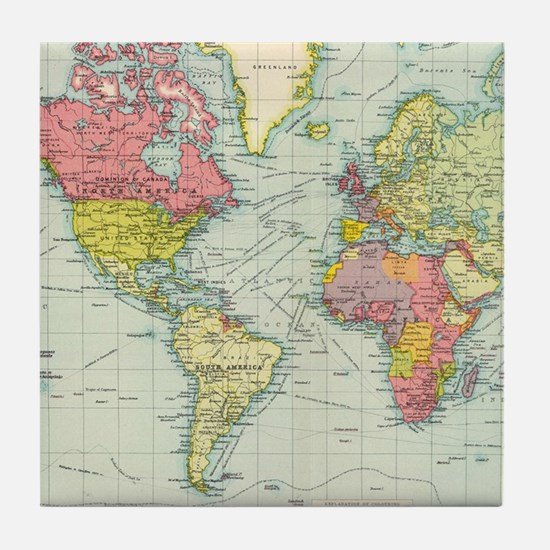 Cute Geography Tile Coaster