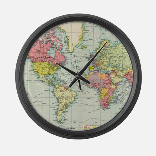 Unique Old world map Large Wall Clock