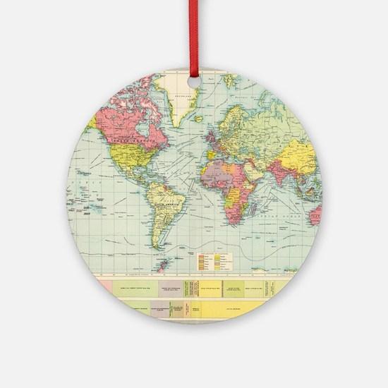 Unique World map Round Ornament