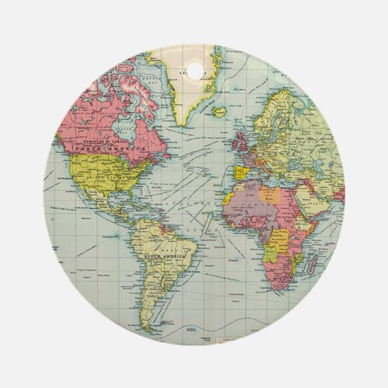 World map christmas ornament cafepress cool world map round ornament gumiabroncs Images