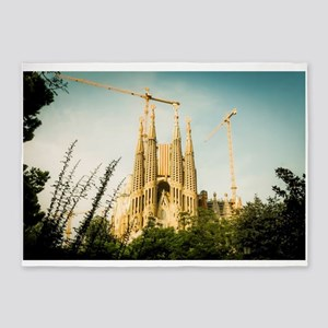 The Sagrada Familia temple with Cat 5'x7'Area Rug