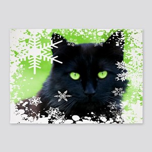 BLACK CAT & SNOWFLAKES 5'x7'Area Rug