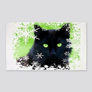 BLACK CAT & SNOWFLAKES Area Rug