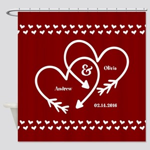 Personalized Names Wedding Gift Red Shower Curtain