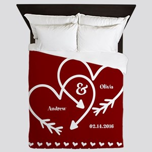 Personalized Names Wedding Gift Red an Queen Duvet