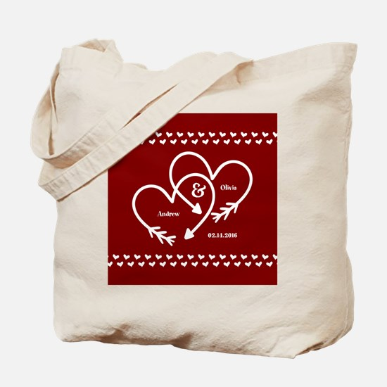 Personalized Names Wedding Gift Red and W Tote Bag