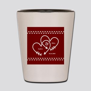 Personalized Names Wedding Gift Red and Shot Glass
