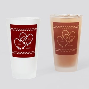Personalized Names Wedding Gift Red Drinking Glass