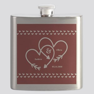 Personalized Names Wedding Gift Red and Whit Flask