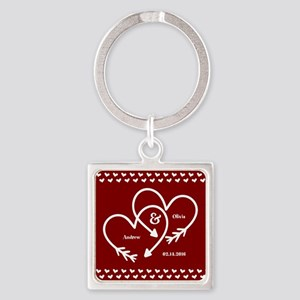 Personalized Names Wedding Gift Re Square Keychain