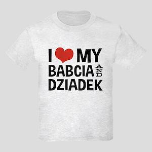 I Love My Babcia and Dziadek Kids Light T-Shirt