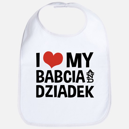 I Love My Babcia and Dziadek Bib