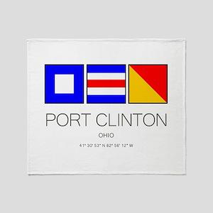 Port Clinton Nautical Flag Art Throw Blanket