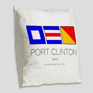 Port Clinton Nautical Flag Art Burlap Throw Pillow