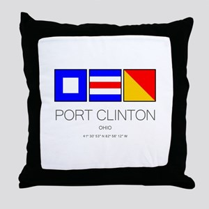 Port Clinton Nautical Flag Art Throw Pillow