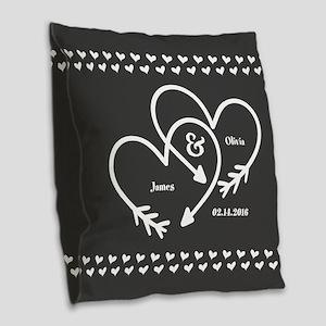 Mr. and Mrs. Wedding Customiza Burlap Throw Pillow