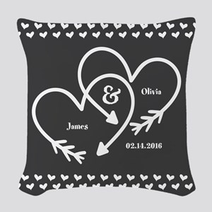 Mr. and Mrs. Wedding Customiza Woven Throw Pillow