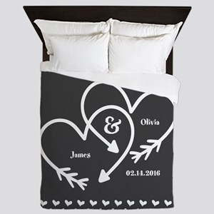 Mr. and Mrs. Wedding Customizable Gray Queen Duvet