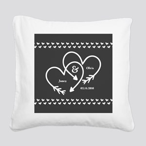 Mr. and Mrs. Wedding Customiz Square Canvas Pillow