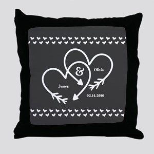 Mr. and Mrs. Wedding Customizable Gra Throw Pillow