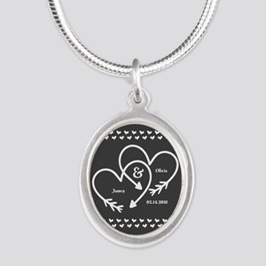Mr. and Mrs. Wedding Customiz Silver Oval Necklace