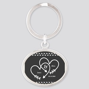 Mr. and Mrs. Wedding Customizable Gr Oval Keychain