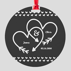 Mr. and Mrs. Wedding Customizable G Round Ornament