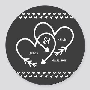 Mr. and Mrs. Wedding Customizable Round Car Magnet