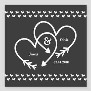 Mr And Mrs Wedding Cus Square Car Magnet 3