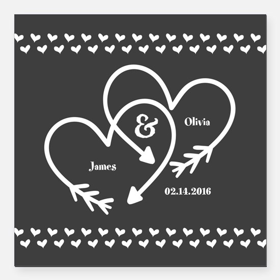 "Mr. and Mrs. Wedding Cus Square Car Magnet 3"" x 3"""