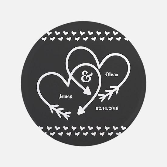 Mr. and Mrs. Wedding Customizable Gray Hear Button