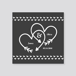 "Mr. and Mrs. Wedding Custom Square Sticker 3"" x 3"""