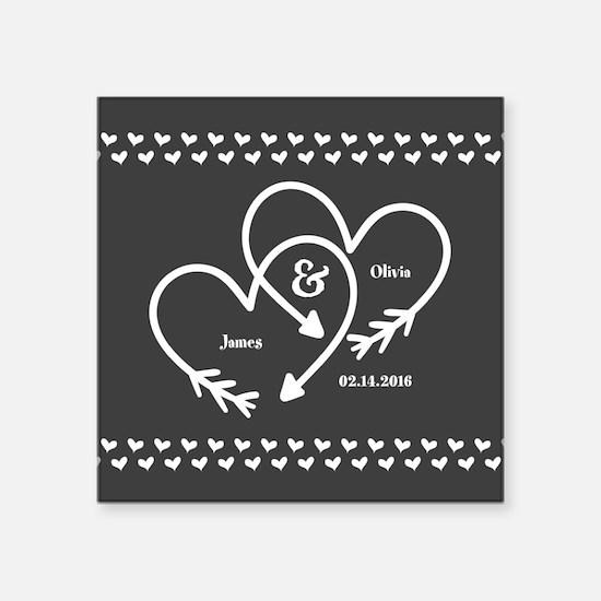 "Mr. and Mrs. Wedding Custom Square Sticker 3"" x 3"""