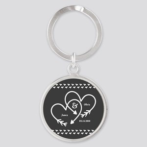 Mr. and Mrs. Wedding Customizable G Round Keychain