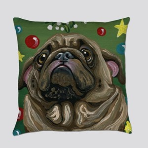 Christmas Pug Mistletoe Everyday Pillow