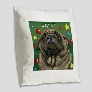 Christmas Pug Mistletoe Burlap Throw Pillow