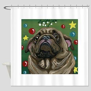 Christmas Pug Mistletoe Shower Curtain