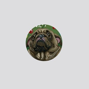 Christmas Pug Mistletoe Mini Button