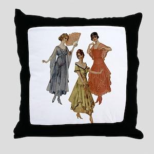 Vintage dresses of twenties Throw Pillow
