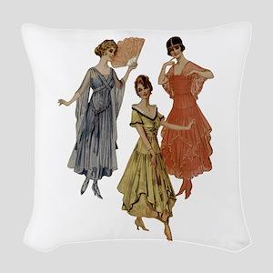 Vintage Dresses Of Twenties Woven Throw Pillow