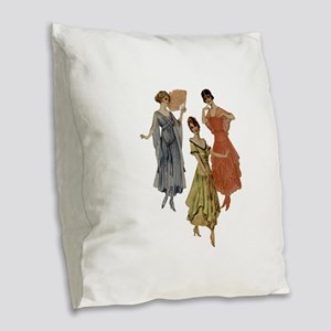 Vintage dresses of twenties Burlap Throw Pillow
