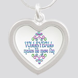Volleyball Fun Silver Heart Necklace