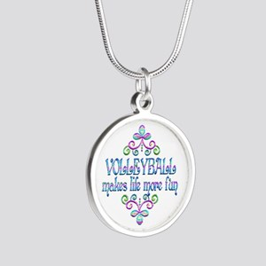 Volleyball Fun Silver Round Necklace