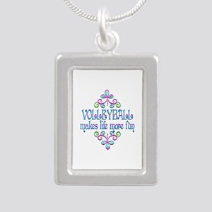 Volleyball Fun Silver Portrait Necklace
